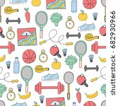 seamless pattern of fitness and