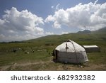 Small photo of Kyrgyzstan. Mountain valley Suusamyr. Yurtas in which there live cattle breeders.