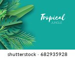 trendy summer tropical palm... | Shutterstock .eps vector #682935928