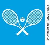 crossed tennis rackets and ball ... | Shutterstock .eps vector #682944016