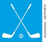 two crossed golf clubs and ball ... | Shutterstock .eps vector #682945876
