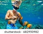 happy family vacation   man in... | Shutterstock . vector #682950982