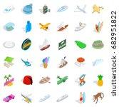miami adventure icons set....   Shutterstock .eps vector #682951822