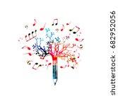 music pencil tree design.... | Shutterstock .eps vector #682952056