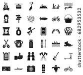 adventure icons set. simple... | Shutterstock .eps vector #682953532