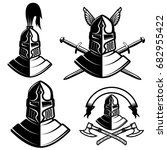 set of knight helmets with... | Shutterstock .eps vector #682955422