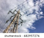 high voltage tower with cloudy... | Shutterstock . vector #682957276