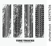 set of four grungy wheel tire... | Shutterstock .eps vector #682957636