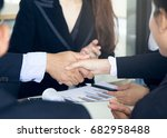 business partner handshake  two ... | Shutterstock . vector #682958488