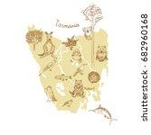 drawing tasmania vector map... | Shutterstock .eps vector #682960168