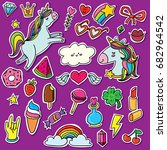 fashion patch badges with... | Shutterstock .eps vector #682964542