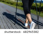 nordic walking   middle age... | Shutterstock . vector #682965382