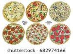 italian pizza hand drawn vector ... | Shutterstock .eps vector #682974166