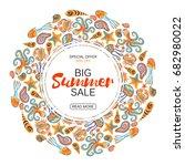 summer sale round frame marine... | Shutterstock .eps vector #682980022
