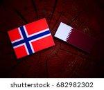 norwegian flag with qatari flag ... | Shutterstock . vector #682982302