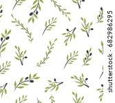 olive brunch seamless pattern.... | Shutterstock .eps vector #682986295