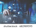 medical technology concept... | Shutterstock . vector #682989595