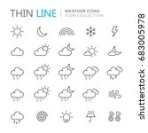 collection of weather thin line ...