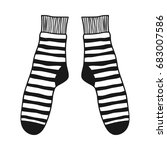 doodle socks. black and white... | Shutterstock .eps vector #683007586