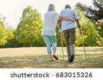 caregiver helps man walking... | Shutterstock . vector #683015326