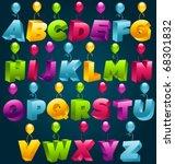 3d party balloons font   Shutterstock .eps vector #68301832