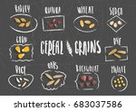 vector set of cereal emblems... | Shutterstock .eps vector #683037586