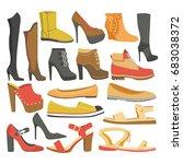 women shoes or female footwear... | Shutterstock .eps vector #683038372