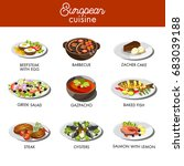 european cuisine food dishes... | Shutterstock .eps vector #683039188