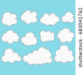 clouds collection with outline... | Shutterstock .eps vector #683041762