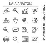 set of 16 data analysis thin... | Shutterstock .eps vector #683044822