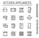 set of 16 kitchen appliances... | Shutterstock .eps vector #683044966