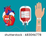 blood bag and hand of donor.... | Shutterstock . vector #683046778