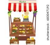 female worker of grocery store... | Shutterstock . vector #683047192