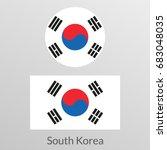 South Korea Flag Set. Korean...