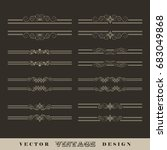 set of vintage vector... | Shutterstock .eps vector #683049868