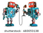 vintage robots having a phone... | Shutterstock . vector #683053138