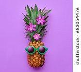 fashion hipster pineapple fruit.... | Shutterstock . vector #683054476