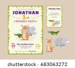 cute animal theme birthday...   Shutterstock .eps vector #683063272