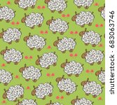 seamless pattern with sheeps ... | Shutterstock .eps vector #683063746