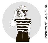 model in striped tshirt | Shutterstock .eps vector #683073208