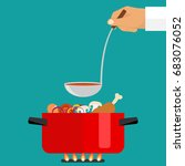 the hand holds a ladle of soup. ... | Shutterstock .eps vector #683076052