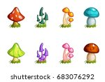 cartoon different mushrooms set ...