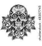 skull and roses sketch vector | Shutterstock .eps vector #68307745