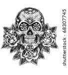 skull and roses sketch vector | Shutterstock .eps vector #68307745