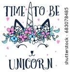 time to be unicorn with flower... | Shutterstock .eps vector #683078485