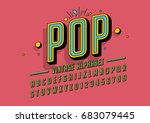 Stock vector vector of retro colorful font and alphabet 683079445