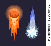 colorful comets in cartoon... | Shutterstock .eps vector #683080492