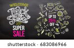 hand drawn with chalk back to... | Shutterstock .eps vector #683086966