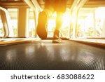 electric treadmills people... | Shutterstock . vector #683088622
