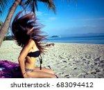 asian girl with beautiful long... | Shutterstock . vector #683094412